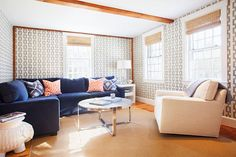 Interior designer Nina Liddle featured Chain Link 5164 Navy on Ivory Manila Hemp in the living room of a client's home.
