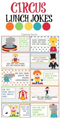 A fun lunch idea for kids! Just print them up and keep them in a drawer ready to go! Capturing Joy with Kristen Duke The post Circus Lunch Box Jokes appeared first on Gag Dad. Cute Jokes, Funny Jokes For Kids, Kid Jokes, Funny Memes, Cool Lunch Boxes, Lunch Box Notes, Notes For Kids Lunches, School Jokes, School Lunches
