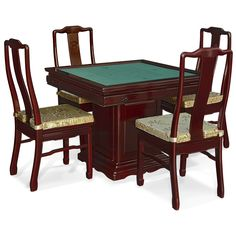 Rosewood Ma-Jon Table. Each side of the table features one drawer and a sliding tray with built in cup and ashtray holders. Classic cherry finish. Oriental Rosewood dining set.