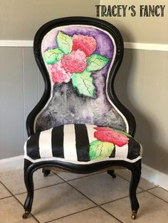 My Latest Watercolor Painted Chair … Whimsical Hydrangeas! My Latest Watercolor Painted Chair … Whimsical Hydrangeas! Upholstered Swivel Chairs, Chair Upholstery, Upholstered Furniture, Chair Cushions, Fire Pit Table And Chairs, Leather Dining Room Chairs, Bar Chairs, Lounge Chairs, Outdoor Chairs