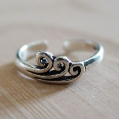 OCEAN WAVE TOE Ring  Sterling Silver Toe Ring by AgHalo on Etsy, $16.00