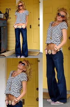 love this top. not sure how i feel about the wide leg baggy jeans. no thanks