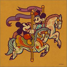 Vintage Style Disney Illustrations by Dave Quiggle Great series of Disney characters illustrated by California-based artist Dave Quiggle for the WonderGround Gallery in the Downtown Disney®️️ District at the Disneyland®️️ Resort. Disney Amor, Disney Nerd, Arte Disney, Disney Magic, Disney Mickey, Downtown Disney, Style Disney, Disney Love, Carousel Tattoo