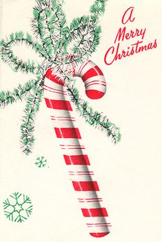 """""""A Merry Christmas"""" vintage greeting card with a candy cane design."""