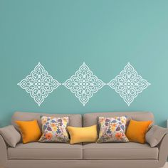 Pattern Vinyl Wall Decal- Wall Decals Living Room- Wall Decals For Bedroom- Wall Decal Pattern- Damask Wall Decal- Bedroom Decor 109