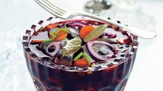 Mustaherukkasilli - K-ruoka Acai Bowl, Panna Cotta, Breakfast, Ethnic Recipes, Kala, Food, Hoods, Meals