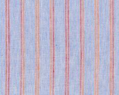 Edler Italienischer Leinenstoff LUIGI, Streifen, hellblau-orange