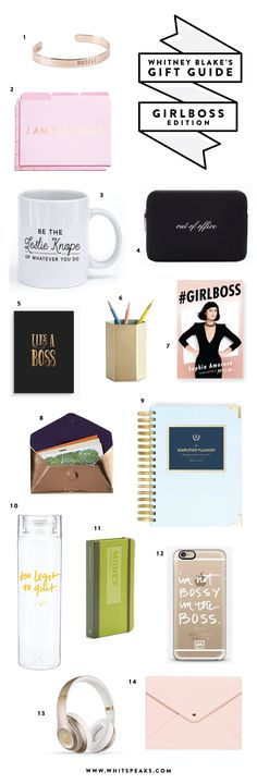 Sassy and fun gift ideas for the #GIRLBOSS, blogger, or business owner in your life! Desktop, tech accessories, books, and more!