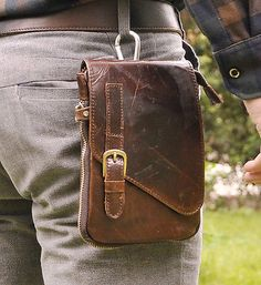 Men Genuine Leather Hiking Fanny Waist Belt Pack Small OutDoor Messenger Bags