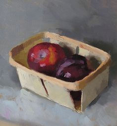'Two Plums', 7.5 x 8, Oil on Panel, SOLD