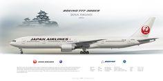 Boeing 777-300ER Japan Airlines JA743J | Airliner Profile Art Prints | www.aviaposter.com | #airliners #aviation #jetliner #airplane #pilot #aviationlovers #avgeek #jet #b777