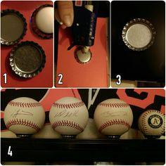 Use Bottle Caps for Baseball Displays Baseball Crafts, Baseball Boys, Baseball Party, Boys Baseball Bedroom, Baseball Room Decor, Baseball Decorations, Baseball Snacks, Baseball Nursery, Baseball Videos