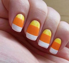 Candy corn nails + 20 easy DIY Halloween tricks and treats Halloween Nail Designs, Halloween Nail Art, Halloween Tricks, Halloween Candy, Happy Halloween, Halloween Season, Halloween Stuff, Halloween Halloween, Halloween Decorations