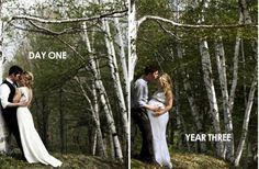 Same place, same day; three years later. What an EXCELLENT photo idea! What is your favorite photo with your sweetheart?
