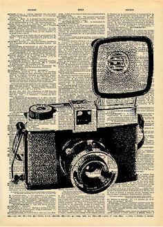 Vintage Camera Drawing   Vintage Book Art Print - Diana Vintage Camera - Upcycled Book Print ...