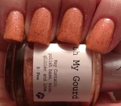 Oh My Gourd! Don't you just love this color? I won't lie, I think this name is pretty funny (pats self on back). Oh My Gourd is a truly unique color. I always have trouble wearing orange polish, I don't know why, but if its not just the right shade, I'm not down. Oh My Gourd is the softest orange I have ever encountered, making it easy to wear, no matter the occasion! Small tiny specks of burgundy and taupe glitter make this polish a fun and beautiful polish.