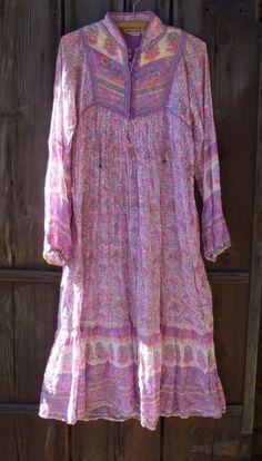 70s Bohemian Dress Pink PEASANT Boho Midi Dress 1970s Festival Vintage Long Sleeve Hippie High Waisted Dress Large xl