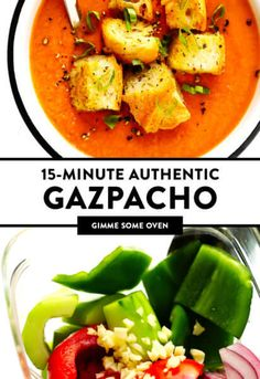 Authentic Gazpacho Recipe | Gimme Some Oven Healthy Meals, Healthy Eating, Healthy Recipes, Vitamix Recipes, Soup Recipes, Authentic Spanish Recipes, Tomato Gazpacho, My Favorite Food