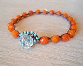 "Orange opal beaded crochet bracelet - slashKnots Stackers ""Orange Twist"", boho chic, turquoise, tangerine, trendy stack bracelet"