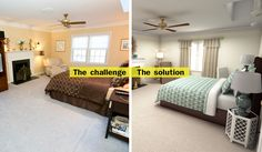 To breathe life into a dated master bedroom, start by getting rid of the wallpaper