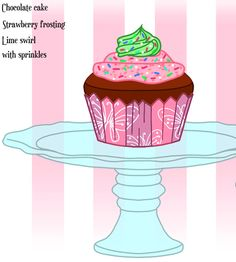 Elina's Chocolate Fairytopia Cupcake with strawberry frosting and lime swirl with sprinkles