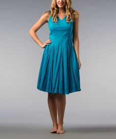 Peacock Blue A-Line Dress