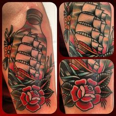 tattoo old school / traditional ink - ship in a bottle with rose
