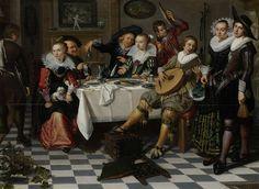 Feestvierend gezelschap, Isaac Elias, 1629 De dame in het midden is een deugdzame vrouw. Ik vind haar alleen niet vrolijk kijken. Waarom is zij daar?