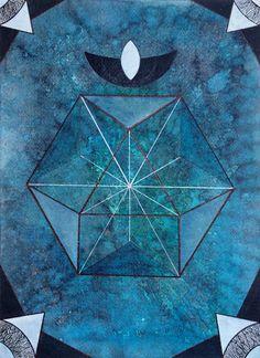 Izabela Ewa Ołdak, Revealed Truth- The Cuboctahedron,, 36x26cm, acrylic, ecoline on paper, 2014