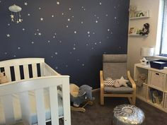 Project Nursery - Dark Blue and Silver Star Accent Wall in this Starry Nursery