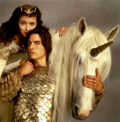 """legend"" (1985). seriously one of my favorite fantasy films of all time.  tom cruise as a fairy child/imp (a la puck from midsummer night's dream), the last unicorn, tim curry as a SUPER creepatastic satan, goblins, oona the fairy sprite ... so dreamy and whimsical and just the right amount of scary.  <3"