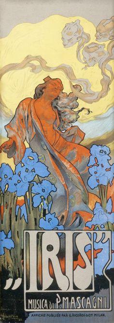 Adolfo Hohenstein poster: Iris (sheet music price list)