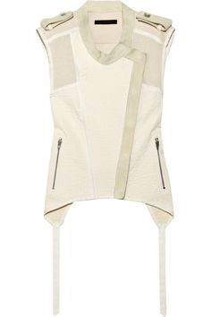 Suede-trimmed cotton and linen-blend vest by Alexander Wang