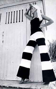 Jane Oleinikoff in wide striped pants, 1969.
