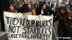 Anti-tax avoidance campaigners protesting in central London