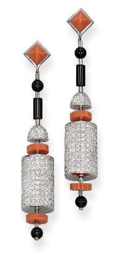 A PAIR OF DIAMOND, CORAL AND ONYX 'CYLINDRE' EAR PENDANTS, BY KOENIG pinned with Bazaart