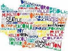 WASHINGTON State Digital Illustration Print with Spokane Seattle Walla Walla Vancouver. via Etsy.