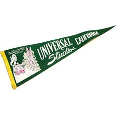 RARE California Pennant, Universal Studios Flag, Vintage 60s Hollywood... ($32) via Polyvore featuring home, home decor, wall art, universal, heart shaped picture, felt wall hanging, flag wall art and photo picture