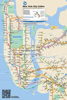 Map of New York City showing the best place to have coffee near each subway stop. February 2014. like graffiti art / street art , check https://www.etsy.com/shop/urbanNYCdesigns?ref=hdr_shop_menu