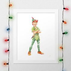 PETER PAN PRINT, Peter Pan Poster, Peter Pan, Watercolor, Nursery, Disney poster, Movie Poster, Print, Wall Art, Digital Print by xNoxyArt