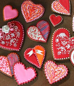 The technique on these Valentine's Day cookies is amazing ... truly works of art.