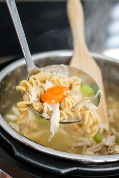 Instant Pot Chicken Noodle soup is rich with flavor and takes only a fraction of the time to make. Warm up on a cold day with this major comfort food. Crockpot Recipes, Cooking Recipes, Healthy Recipes, Spicy Recipes, Drink Recipes, Healthy Eats, Delicious Recipes, Dinner Recipes, Tasty