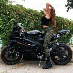 Black Yamaha R6 Motorcycle and biker girl $ biker queen #yamaha #motorcycle #bike #biker #sportbike