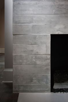 Concrete Fireplace with wood texture...