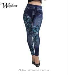 c72467e365946 Weljuber Women Leggings Jeans Leggings Slim Mock Pocket Woman Print  Jeggings Ladies Denim Skinny Trousers Regular