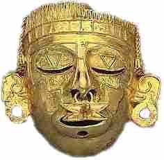 Mascara del Dios Xitoc,oro azteca  Museo Nacional de Antropologia
