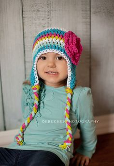 girls hat crochet girls hat baby hat little by VioletandSassafras