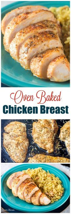 This Oven Baked Chicken Breast recipe makes an easy, delicious, no-fuss weeknight dinner, or can be used in many other main dish recipes that call for cooked chicken. ~ http://FlavorMosaic.com
