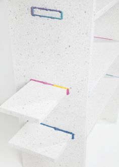 Caesarstone in collaboration with Design Space Gallery at the Fresh Paint Art Fair 2014 - shelves made of Caesarstone surfaces by Roy Yahalomi