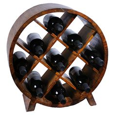 Handcrafted pine wood wine rack. Holds nine bottles.   Product: Wine rackConstruction Material: Pine woodC...